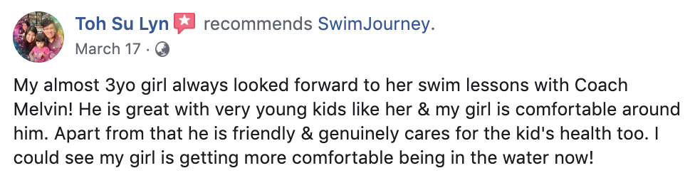 Swimming lessons testimonial 6
