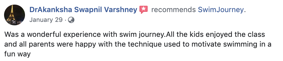 Swimming lessons testimonial 3