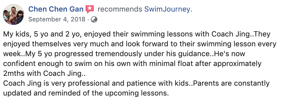 Swimming lessons testimonial 5