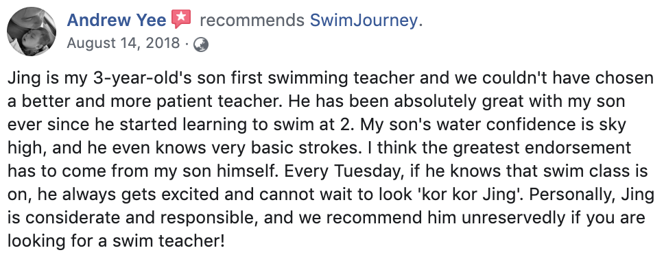 Swimming lessons testimonial 1